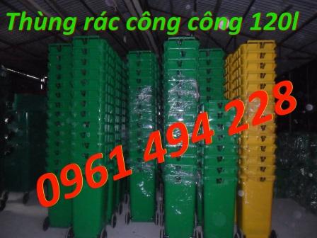Thung rác công cộng 120l, thùng rác nhựa giá re